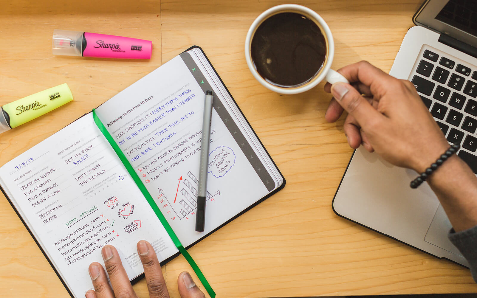 Open notebook and coffee